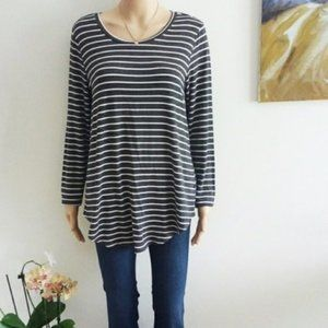 Olivia sky sz L striped tunic long sleeve top